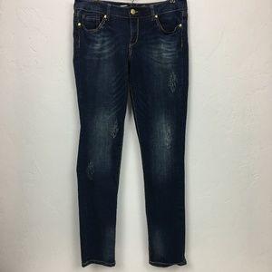 Seven7 Dark Distressed Skinny Jeans Size 31 EUC